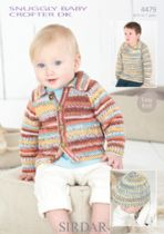 Sirdar Snuggly Baby Crofter DK - 4479 Cardigan, Sweater & Hat Knitting Pattern